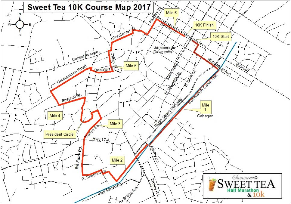 2017 Sweet Tea 10K Course